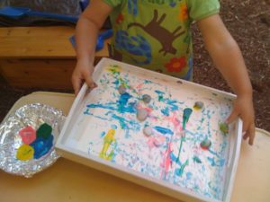 Kids Art Projects Rolling Rock Painting: A Messy Yet Exciting Summertime Fun Activity