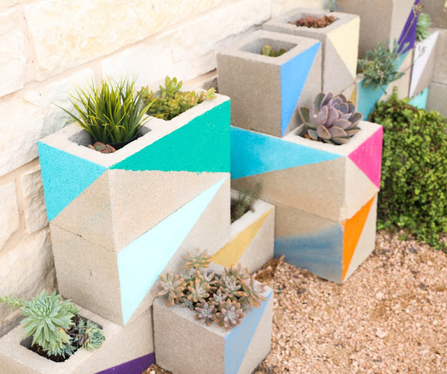 Colorful Cinderblock Planter Out of Concrete for A Succulent Garden View