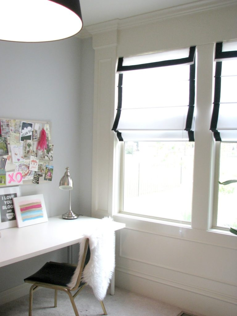 DIY Ribbon Trimmed Roman Shades By Life Love Larson for a Classy Interior Look