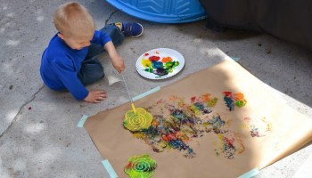 Liquid Chalk & Toothbrushes Craft: A Messy Outdoor Dental Health Activity for Preschoolers