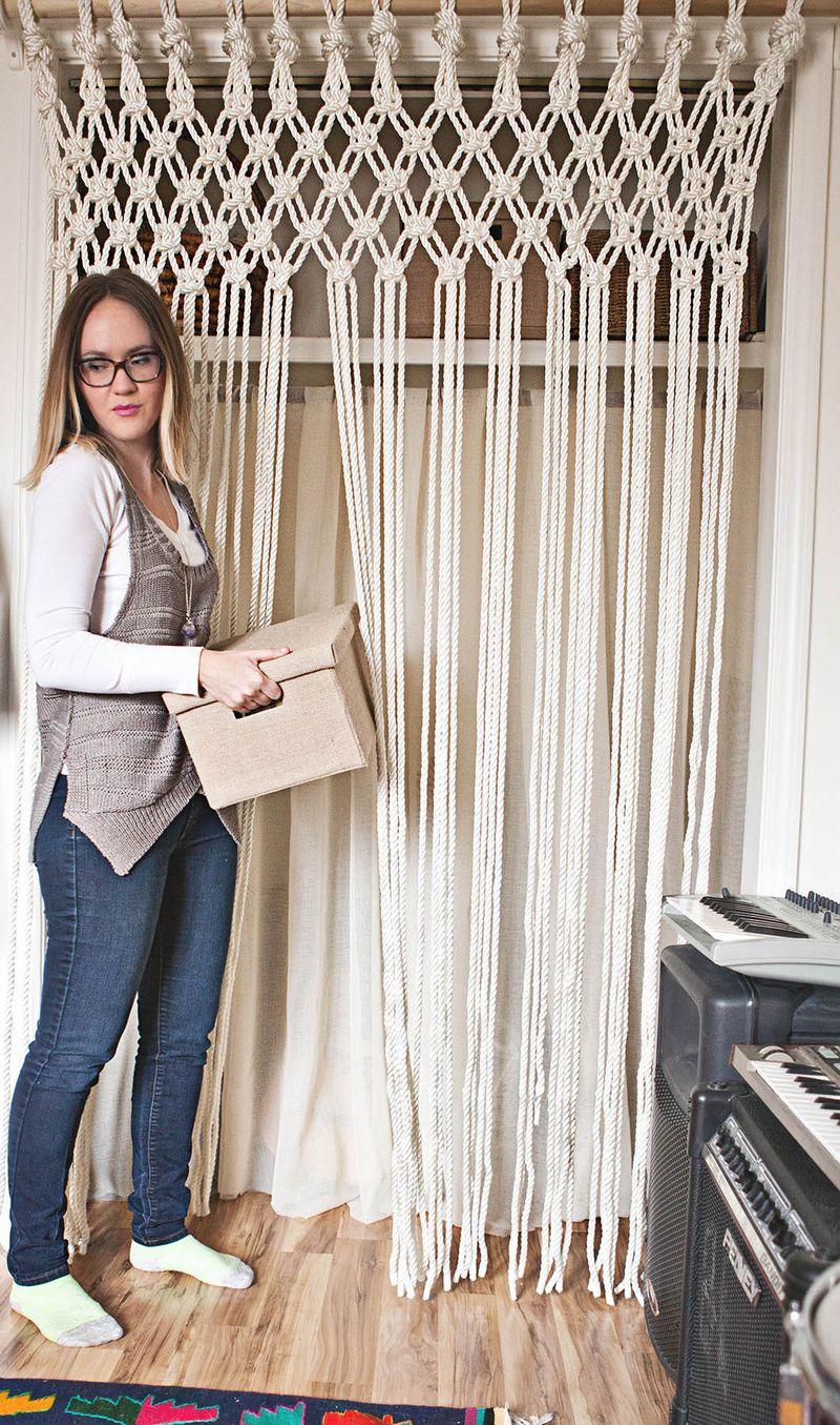 DIY Rustic Macrame Curtain Tutorial By A Beautiful Mess