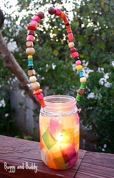 Captivating Mason Jar Lanter with Embellished Beaded Hanger