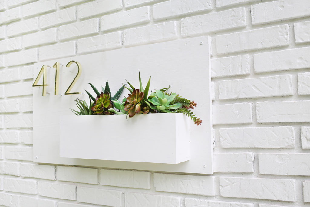 Modern House Number Planter: A DIY Wooden Project on Concrete Base