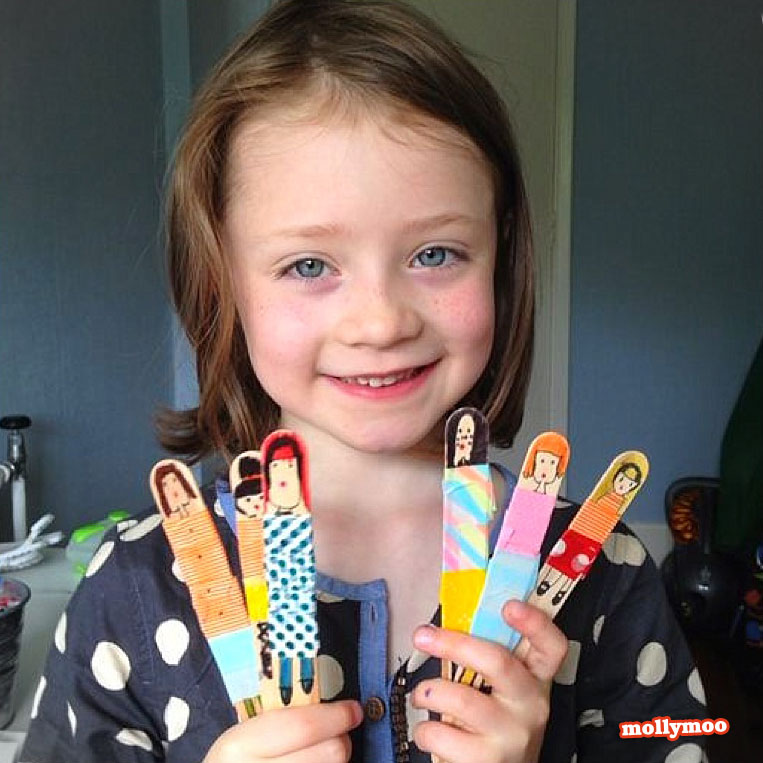 Quick Craft Idea for Little Girls: DIY Pretty Stick Dolls with Simple Popsicle Sticks and Colorf ...