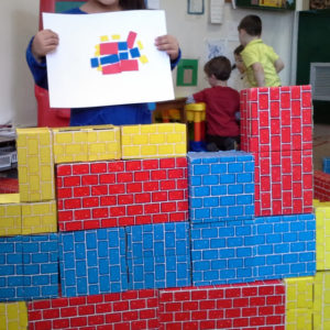 DIY Construction Activity Idea for Kids: Pre-Cut Cardboard Blocks Building with Foam Sheets