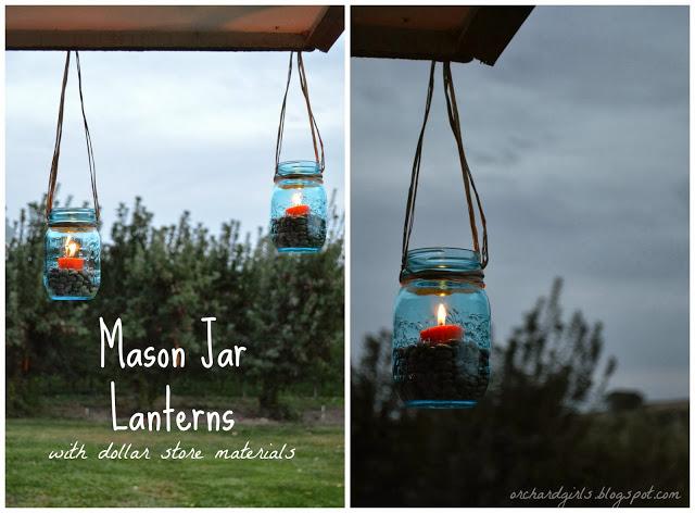 Mason Jar Lanterns: DIY Dreamy Porch Decor Idea with Dollar Store Materials By Orchard Girls