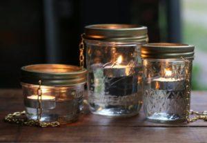 Outdoor Hanging Lights Using Mason Jars with Metallic Lids