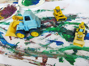 Painting with Toy Trucks: DIY Artifact Idea for Preschoolers with Simple Transportation Toys
