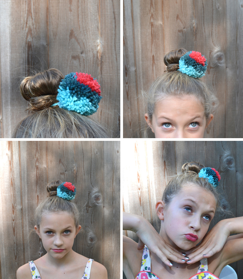 Pom-Pom Hair Ties: DIY Yarn Summer Craft Idea for Kids with Different Color Layer on Elastic Cord