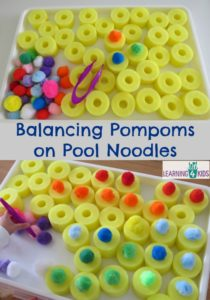 Construction Activities with Fine Motor Fun: Balancing Colorful Yarn Pom-Pom on Pool Noodles