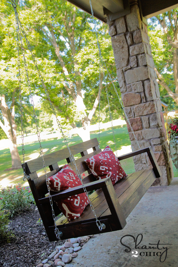 DIY Wooden Porch Swing with Cozy Cushions: A House Exterior Idea for Front Porch Area
