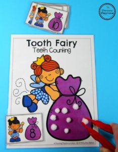 Fine Motor Practise Idea with Adorable Fairy Tooth Template and Cotton Ball-Made Teeth