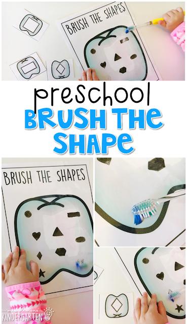 Preschool Healthy Habits: Smart Sensory Play Idea of Brush the Shape with Free Printable Templates