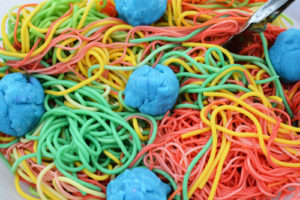 Rainbow Spaghetti and Meatball Sensory Play for Toddlers: A Fun Preschool Activity