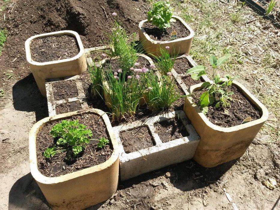 Raised Herb Garden with Concrete Materials: Cinderblock Planter Idea
