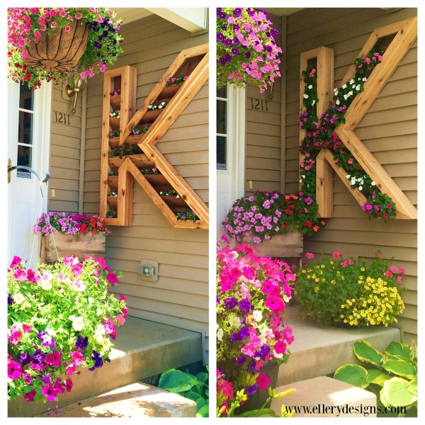 DIY Monogram Planter Tutorial with Wooden Alphabet in The Wrap of Flowers for Dreamy Front Porch