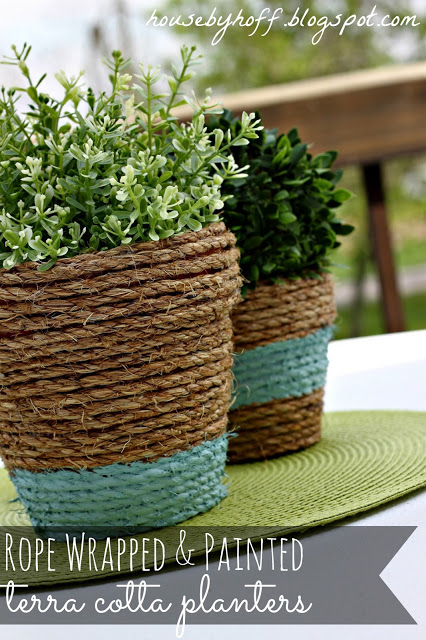 Rustic Garden Look with Painted Rope-Wrapped Pots on Terracotta Planters