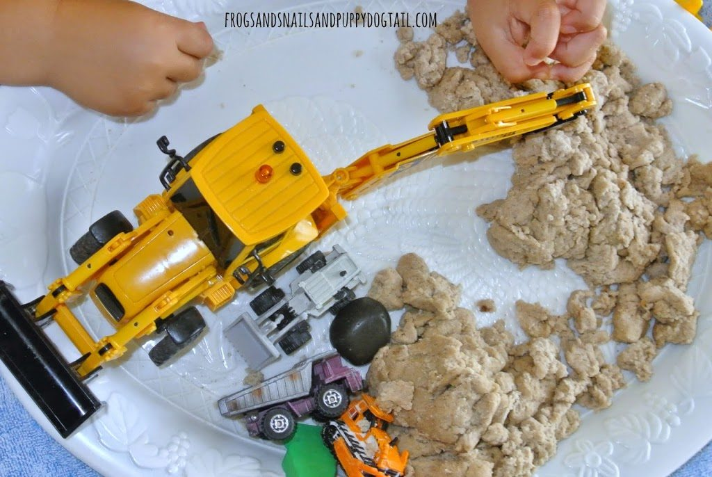 Construction Theme Play with DIY Sand-Made Play Douch, Mini Crane, Other Related Miniature Toys