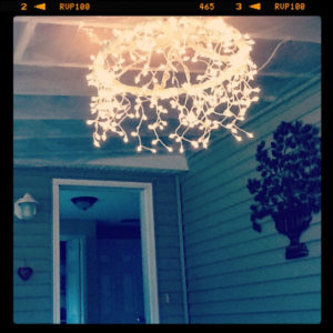 DIY Hula Hoop Chandelier Wrapped with Light Garland for A Dreamy Outdoor Gardening