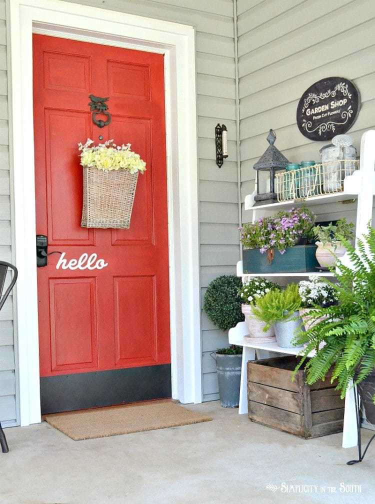 Seasonal Simplicity Spring Home Tour Rustic Porch View with Potting Bench Planter Display