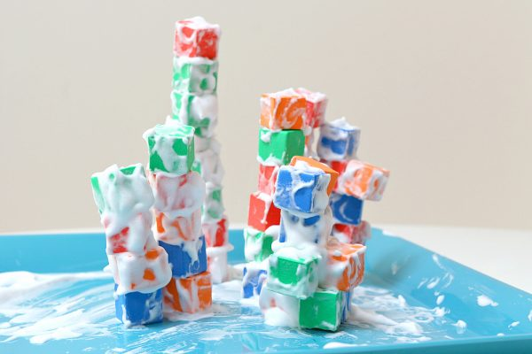 Shaving Cream Block Tower: Sensory Filled Building Activity with Colorful Play Blocks and Shavin ...