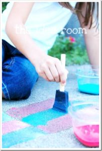 Sidewalk Chalk Paint: DIY Summertime Outdoor Activity with Paint and Sponge Brush By The Idea Room