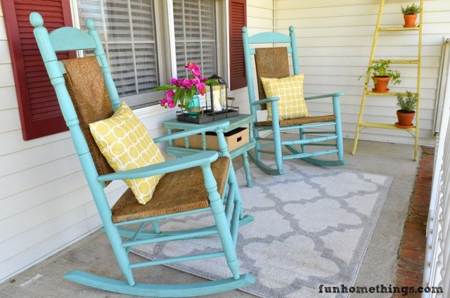Spring Porch Reveal: A Spectacular Porch Decor Idea with Rocking Chair Set and Pretty Floral Accents