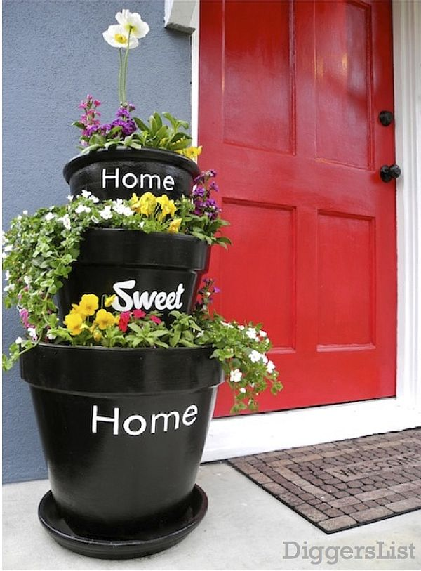 Stacked DIY Planter: Easy Exterior Decoration Trick for Small Front Porch Area