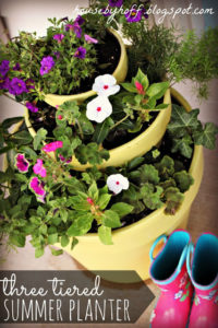 Summer Celebration Series with Unique Three-Tiered Planter for Pretty Flowering Plants