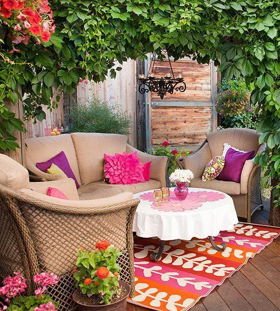 Wicker Summer Porch Decor Idea with Eco-Friendly Greenery Adornments and Colorful Furnishings