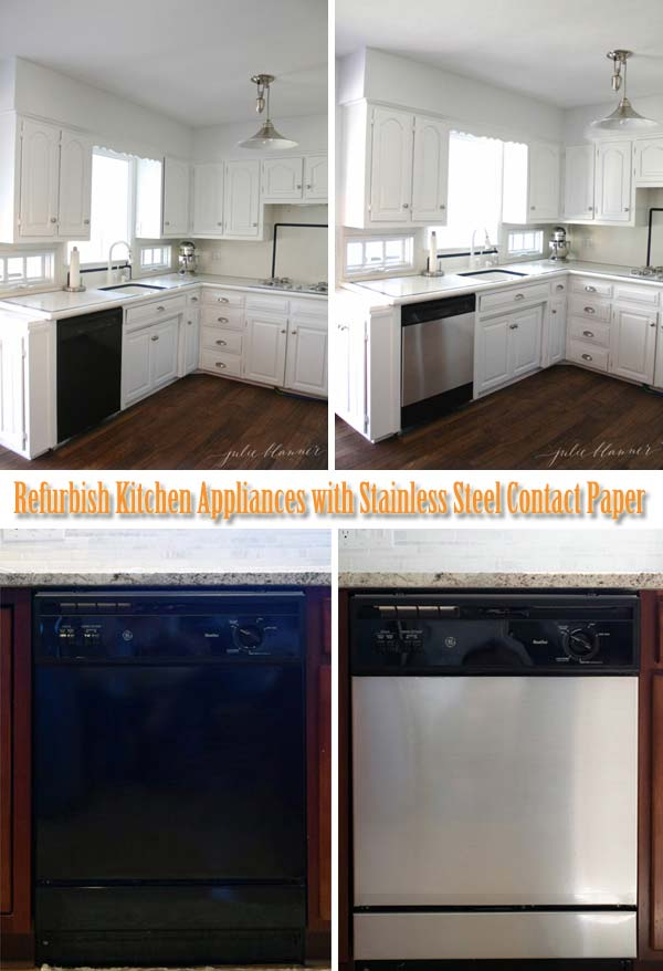 DIY Kitchen Appliances Makeover with Stainless Steel Contact Paper