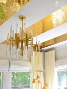 DIY Luxurious Ceiling Decor with Gold Contact Paper Stripes on Plain Paint