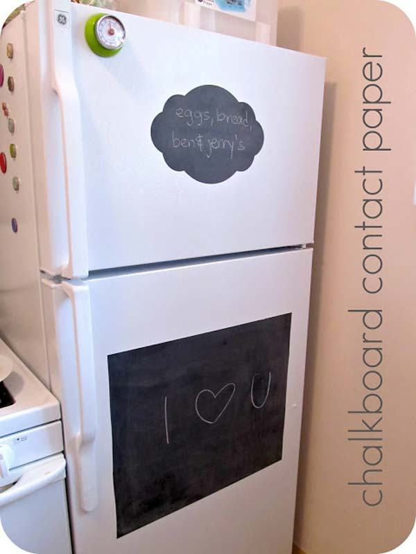 DIY Memo Board on Your Regular Refrigerator with Contact Paper Chalkboard
