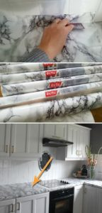 Complete Tutorial of How to Use Contact Paper to Update Kitchen Countertop in Marble Pattern