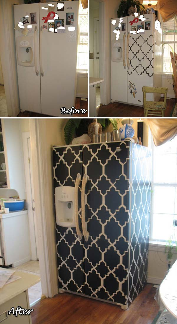 Cool and Fashionable Fridge Makeover with Plain Contact Paper Pieces