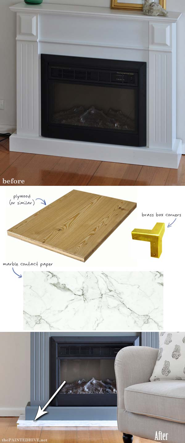 Easy Fireplace Makeover within Budget: DIY Fireplace Decor with Contact Paper