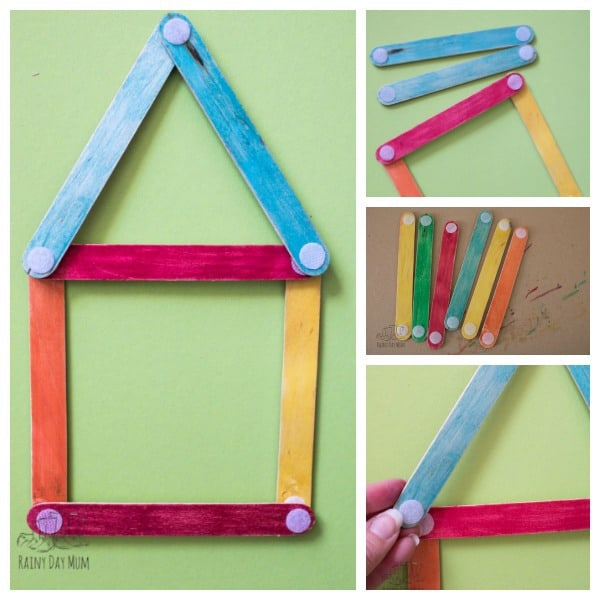 Stick Shape Houses: Plain Construction Project Idea for The Beginners with Craft Sticks
