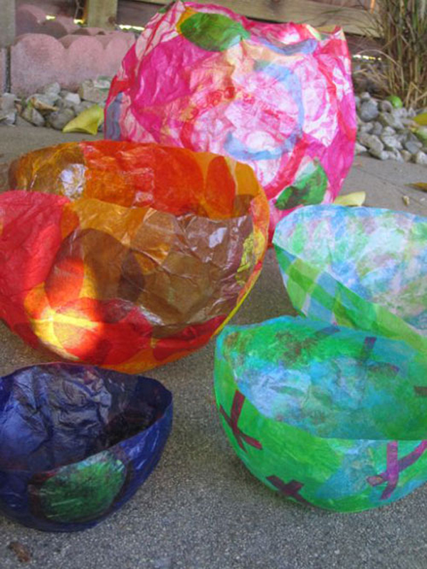 Tissue Paper Balloon Bowls: A Colorful & Useful DIY Craft Idea for Kids By Meri Cherry