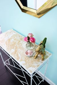 Contact Paper Covered Table Top For A Pretty Entryway: DIY Decor Idea