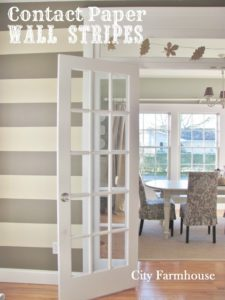DIY WAllpaper with Contact Paper in Stripe Prints: A No-Paint Way to Decorate Your Wall