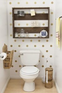 Contemporary DIY Wallpaper Idea with Golden Polka Dot Out of Contact Paper