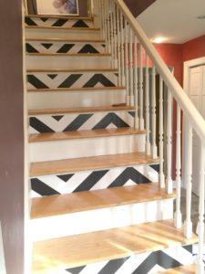 DIY Stair Decoration with Super Trendy Chevron Design Out of Contact Paper