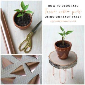 DIY Planter Decor Idea: Contact Paper Decoration Projct on Plain Terracotta Pots