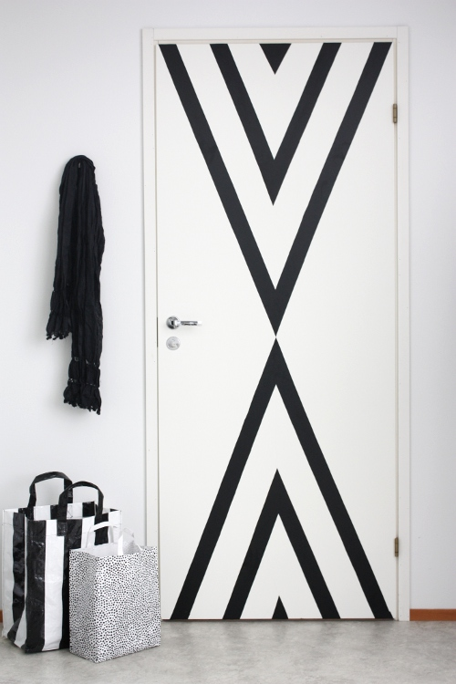 Redecorating Project with Contact Paper: Trendy Door design with Contact Paper Over White Paint