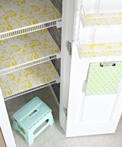 DIY Lining of Kitchen Pantry or Cupboard Shelves with Designed Contact Paper