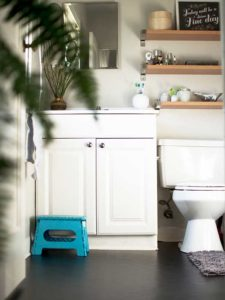 A DIY Flooring Idea with Contact Paper: A Cheap Yet Catchy Bathroom Makeover Idea