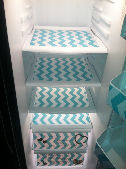 DIY Fridge Makeover with Contact Paper: Fridge Tray Lining with Patterned Contact Paper