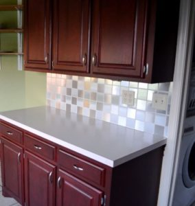 DIY Kitchen Backsplash Makeover with Contact Paper Squares for An Inexpensive Tile Look