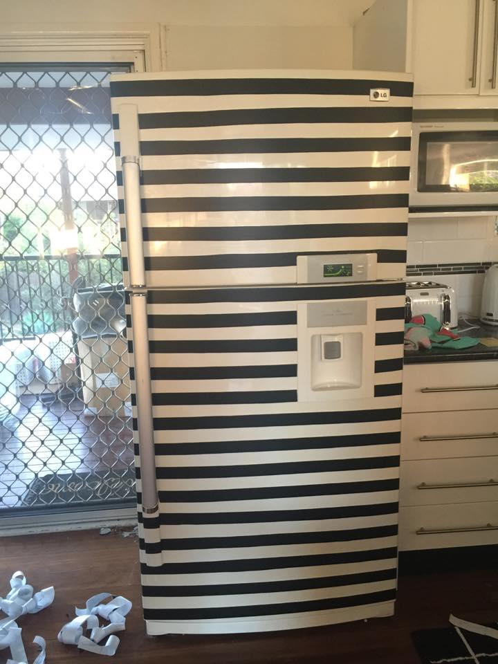DIY Stripe Design on Duble Door Fridge Outer Surface with Plain Contact Paper