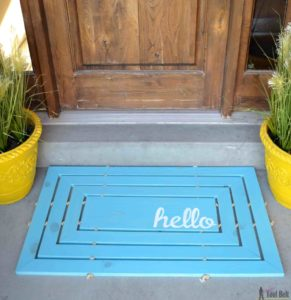 Classy Front Porch Decor Idea with Hello Wooden Mat and Bold Clay Planters At The Entrance